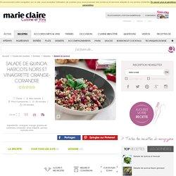 Salade de quinoa, haricots noirs et vinaigrette orange-coriandre