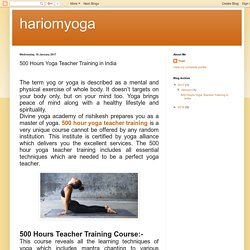 hariomyoga: 500 Hours Yoga Teacher Training in India