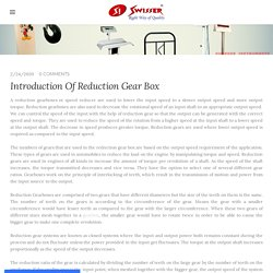 Introduction Of Reduction Gear Box