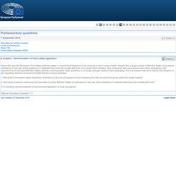 PARLEMENT EUROPEEN - Réponse à question E-012548-15 Harmonisation of food safety legislation (concerne le BPA)
