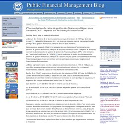 PFM blog: L'harmonisation du cadre de gestion des finances publiques dans l'espace CEMAC : repartir sur les bases plus rassurantes