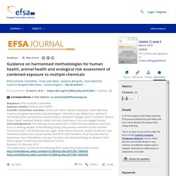 EFSA 25/03/19 Guidance on harmonised methodologies for human health, animal health and ecological risk assessment of combined exposure to multiple chemicals