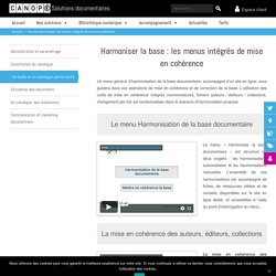 harmoniser la base documentaire - menus mise en cohérence