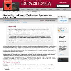 Harnessing the Power of Technology, Openness, and Collaboration (EDUCAUSE Quarterly)