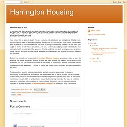 Harrington Housing: Approach leading company to access affordable Ryerson student residence