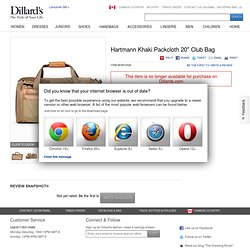 "Hartmann Khaki Packcloth 20"" Club Bag"