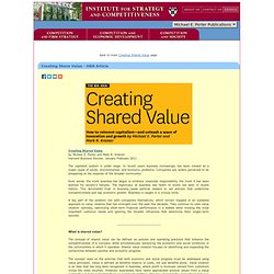 Harvard Business School - Creating Shared Value