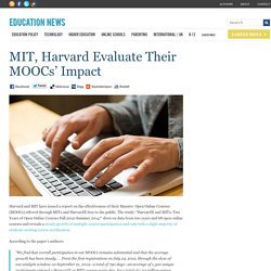 MIT, Harvard Evaluate Their MOOCs' Impact