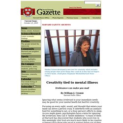 Harvard Gazette: Creativity tied to mental illness