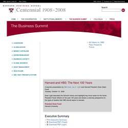 Harvard and HBS: The Next 100 Years - President Drew Faust