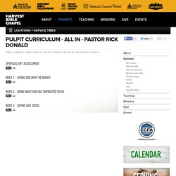 Harvest Bible Chapel - Pulpit Curriculum - All In - Pastor Rick Donald