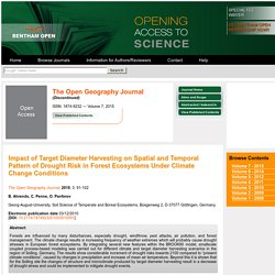The Open Geography Journal, 2010, 3, 91-102 91 Impact of Target Diameter Harvesting on Spatial and Temporal Pattern of Drought Risk in Forest Ecosystems Under Climate Change Conditions
