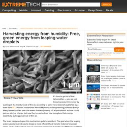 Harvesting energy from humidity: Free, green energy from leaping water droplets