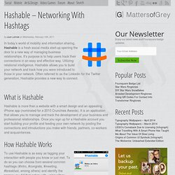 Hashable – Networking With Hashtags | Matters of Grey