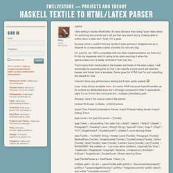 Haskell Textile to HTML/Latex parser