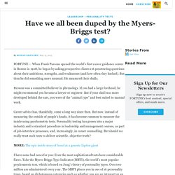 Have we all been duped by the Myers-Briggs test?