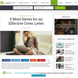 5 Must Haves for an Effective Cover Letter