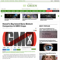 Hawaii's Big Island Bans Biotech Companies & GMO Crops
