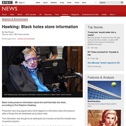 Hawking: Black holes store information - BBC News