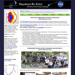 Hayabusa Sample Return Capsule Entry - Airborne Observing Campai