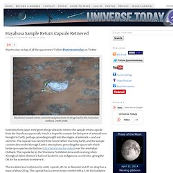 Hayabusa Sample Return Capsule Retrieved