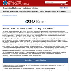 Hazard Communication Standard: Safety Data Sheets - OSHA 3514