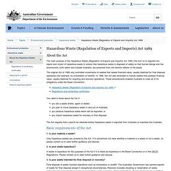Hazardous Waste (Regulation of Exports and Imports) Act Australia
