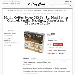 Monin Coffee Syrup Gift Set 5 x 50ml Bottles - Caramel, Vanilla, Hazelnut, Gingerbread & Chocolate Cookie