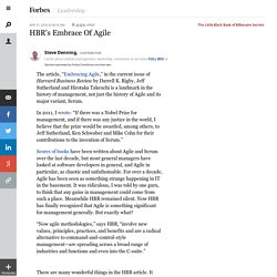 HBR's Embrace Of Agile