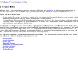 Header Files - The C Preprocessor