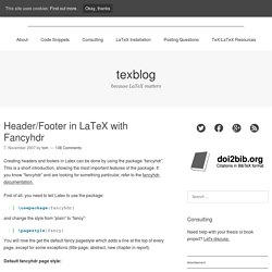 Header/Footer in LaTeX with Fancyhdr – texblog