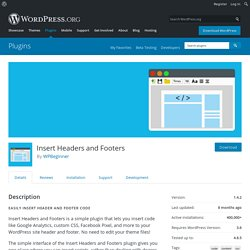 Insert Headers and Footers — WordPress Plugins