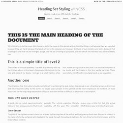 Heading Set Styling with CSS
