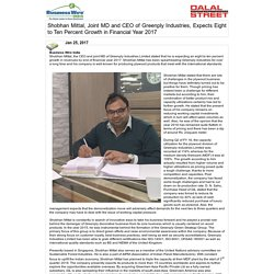 """<span id=""""headline1"""">Shobhan Mittal, Joint MD and CEO of Greenply Industries, Expects Eight to Ten Percent Growth in Financial Year 2017</span>"""