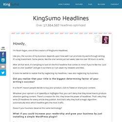 KingSumo Headlines: Headline optimization for WordPress