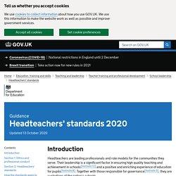 Headteachers' standards 2020