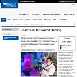 Spider Silk for Wound Healing - RWTH AACHEN UNIVERSITY - English
