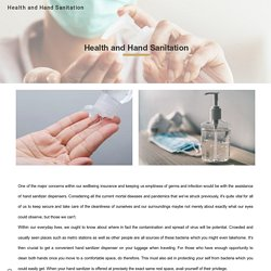 Health and Hand Sanitation