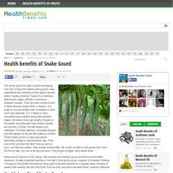 Health Benefits of consuming Snake Gourd - Health Benefits