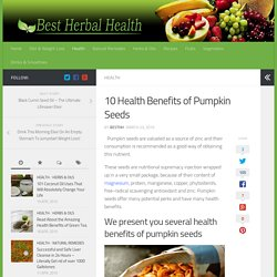10 Health Benefits of Pumpkin Seeds