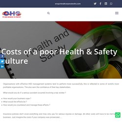 Costs Of A Poor Health & Safety Culture