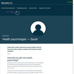 Health psychologist: Sarah