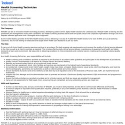 Health Screening Technician - London - Indeed Mobile