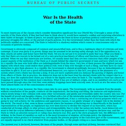 War Is the Health of the State (Randolph Bourne)