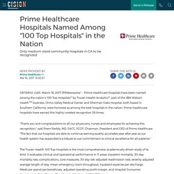"""Prime Healthcare Hospitals Named Among """"100 Top Hospitals"""" in the Nation"""