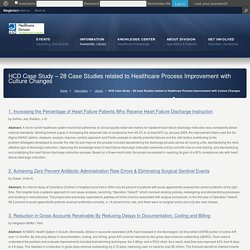 HCD Case Study – 28 Case Studies related to Healthcare Process Improvement with Culture Changes « ASQ Healthcare Division