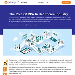 RPA in Healthcare Industry - VertexPlus Technologies