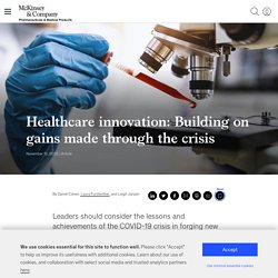 Healthcare innovation: Building on gains made through the crisis