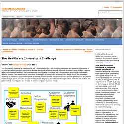 The Healthcare Innovator's Challenge