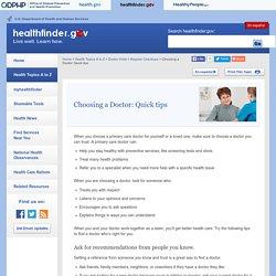 healthfinder.gov - Choosing a Doctor: Quick tips